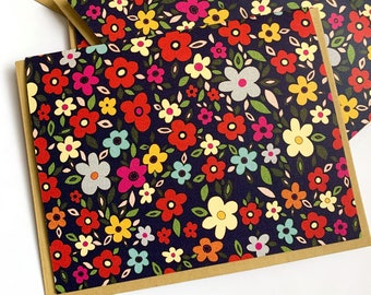 Mod Floral Notecard- single