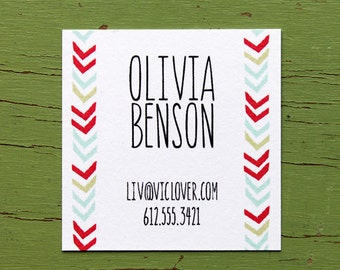 Chevron Lines Calling Cards in Color- 2 inch square-set of 50