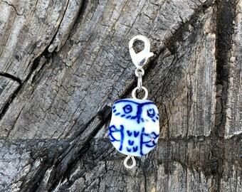 Knitting Progress Keeper - Owl Stitch Marker - Crochet Stitch Marker - Knitting Stitch Marker - Zipper Pull - White and Blue Bead Owl Charm