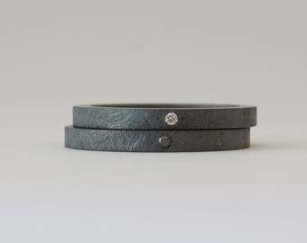 Black Diamond and White Diamond Ring Set - Oxidized Rough Finish - 2 mm Stacking Rings