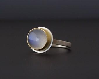 Blue Moonstone Cabochon Ring - Bezel Set Oval Gemstone - 22 Karat Gold - Sterling Silver - Size 6.5 - Blue Flash