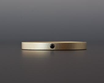 Black Diamond Gold Ring - 18 Karat Yellow Gold with Flush Set Black Diamond - Minimalist, Contemporary, Modern - Wedding - Engagement Ring