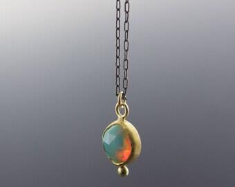 Gold Opal Pendant Necklace - Rose Cut Ethiopian Welo Opal - Bezel Set - Reclaimed Gold - One of a Kind