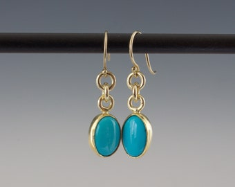 Sleeping Beauty Turquoise Cabochon Earrings - Bezel Set Ovals in Gold and Silver - Small Dangle Earrings - Old Stock Gems