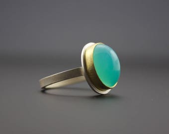 Blue Peruvian Opal Cabochon Ring - Bezel Set 22 Karat Gold and Sterling Silver - Oval Opal Ring - One of a Kind