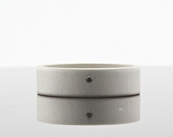 Matte Finish Black Diamond Ring - Sterling Silver - 6 mm Wide Band - Flush Set Diamond - Simple Modern Minimalist Men's Wedding Band
