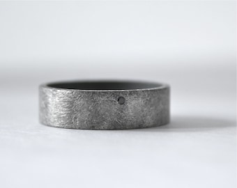 Black Diamond Ring - Oxidized Simple Wedding Band for Men or Women - 6 mm wide Sterling Silver with Dark Rough Finish