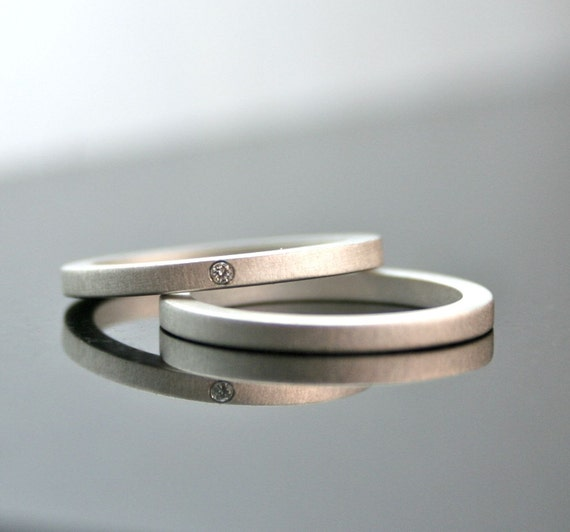 Simple Wedding Ring Sets | One Tiny Diamond Ring Set Simple Wedding Rings Sterling Etsy