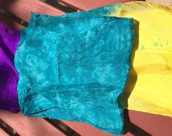Handmade, hand dyed 100% silk scarf~~ 8x72