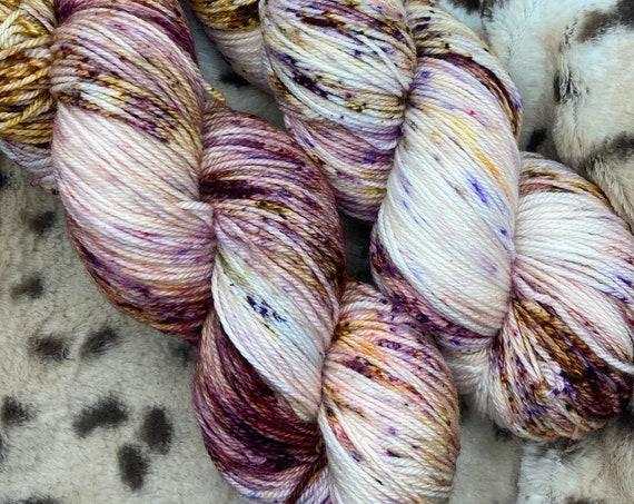 Hand Dyed Yarn | Sock Yarn | Cranberry Mocha Cheesecake | Superwash Yarn | Speckled Yarn | Fingering Weight.