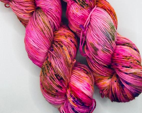 Hand Dyed Yarn | Sock Yarn | Pink Parfait | Superwash Yarn | Speckled Yarn | Fingering Weight.