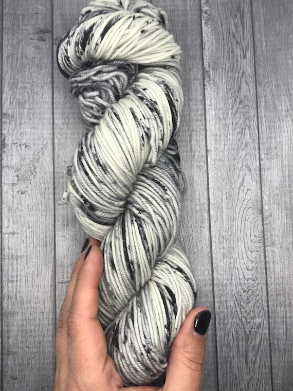 Hand Dyed Yarn | Speckled Yarn | Cookies and Cream | Worsted Weight Yarn | Superwash Yarn | Merino Yarn.