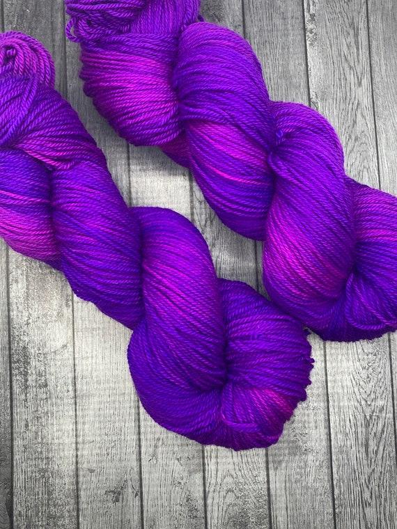 Violet Sky. Semi-Solid Yarn. Hand Dyed Yarn. Superwash Yarn. Sock Yarn. Fingering Weight Yarn.