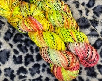 Hand Dyed Yarn |  Sock Yarn | Zebra Yarn | Superwash Yarn | Pink Lemonade| Fingering weight yarn | Merino Wool Yarn | Nylon Yarn