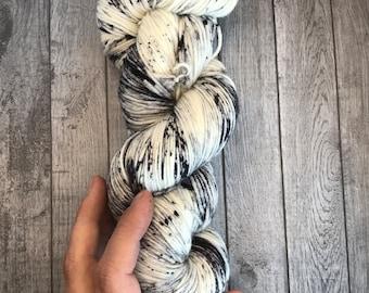 Hand Dyed Yarn. Cookies and Cream Fingering Weight Yarn. Sock Yarn. Superwash Yarn. Speckled Yarn.