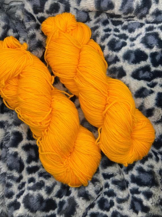 Hand Dyed Yarn.  Sock Yarn. Orange Push Pop. Superwash Yarn. Semisolid Yarn.