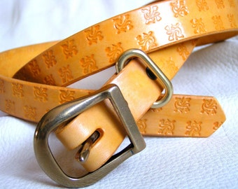 Yellow tiles tooled leather belt