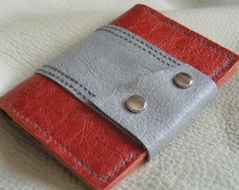 Orange and grey color block leather card case