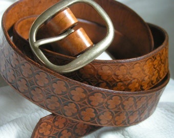 Brown stonework leather belt
