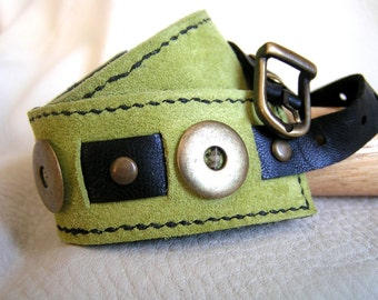 Lime green and black leather wrap cuff