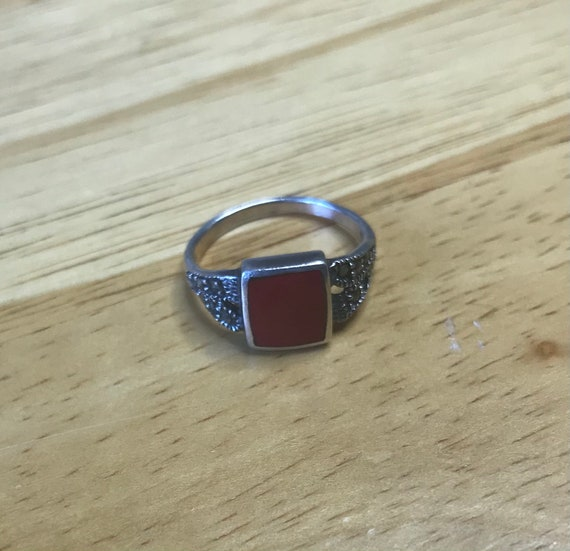 Carnelian and Silver ring - Cottagecore/Fairycore… - image 1