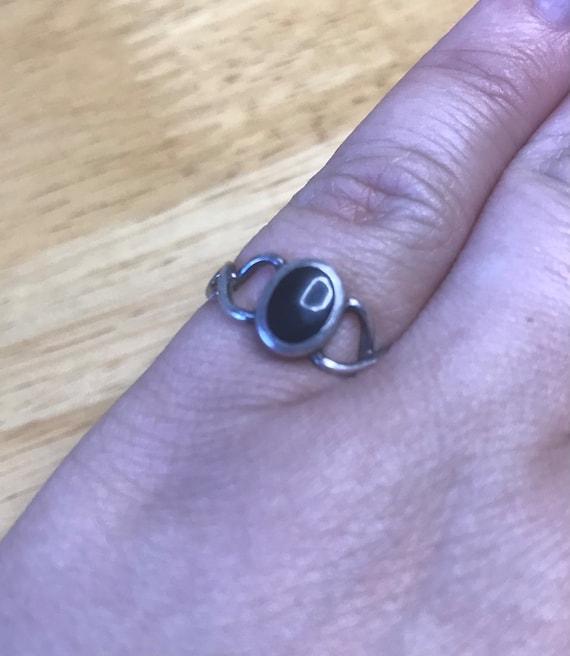 Onyx and silver ring - Dark Academia/Goblincore/F… - image 1