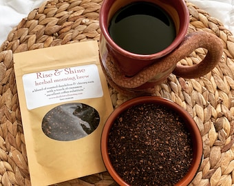 RISE & SHINE Herbal Coffee substitute blend two or four ounces / roasted dandelion chicory root morning brew / organic and vegan
