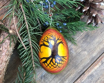 Celtic Tree Sunburst Ornament egg gourd pyrography