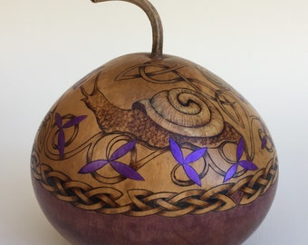 Golden Snails with Ivy Celtic Gourd Art Pyrography