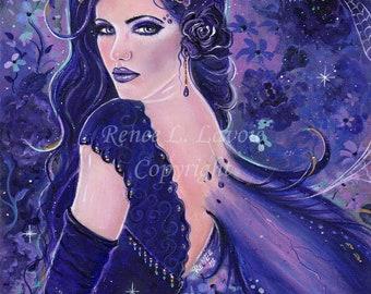 Forbidden fae fairy portrait floral dark fantasy art print by Renee L. Lavoie