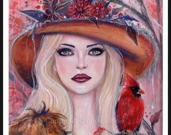 Woodland witch with red cardinal print fantasy portrait by Renee L. Lavoie