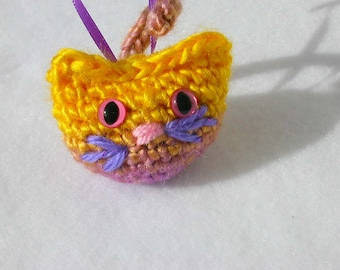 Purple & Yellow Variegated Cat Ornament