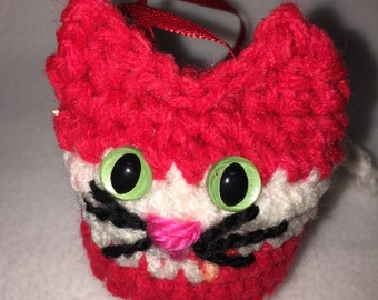 Red & White Striped Cat Ornament