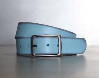 Distressed Verdigris Leather Belt by FosterWeld