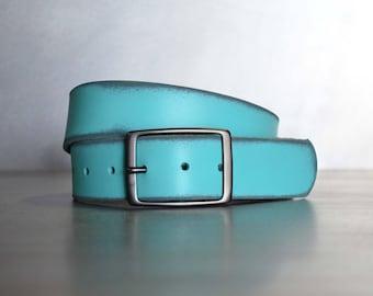 Distressed Aqua Leather Belt by FosterWeld