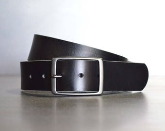 Solid Black Leather Belt by FosterWeld