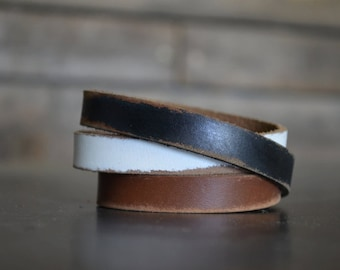 TREY Leather Wrap Around Cuff by Fosterweld