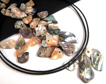 40 Abalone Shell Beads, 9mm - 16mm Chip Bead, Freeform Shell, Natural Shell Beads, New Zealand, Abalone Beads, Responsibly Sourced  V29