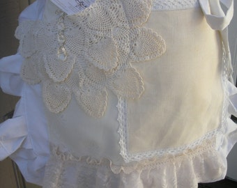 Bride Aprons - Lace White Apron - Bridal Aprons - Here Comes The Bride Aprons -  Shabby Chic Aprons - French Flea Market Chic Apron