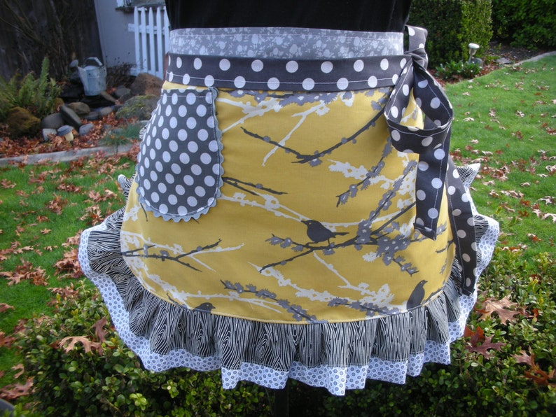 Bird Aprons Yellow Aprons Hostes Gifts Etsy Aprons Yellow and Grey Aprons Aviary Aprons Annies Attic Aprons