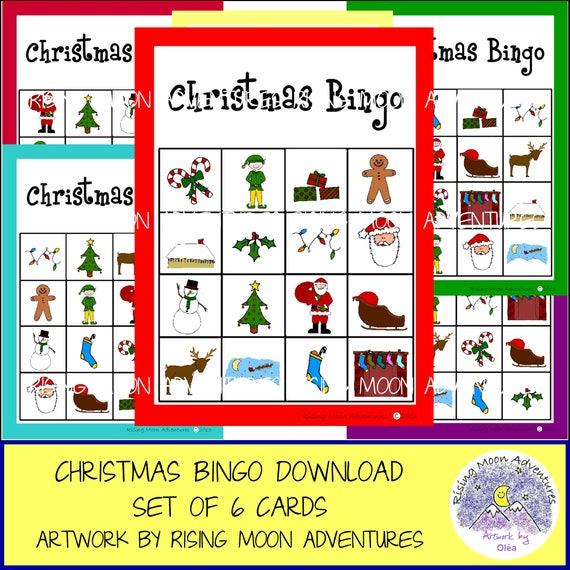 Christmas Bingo.Christmas Bingo Game Set Of 6