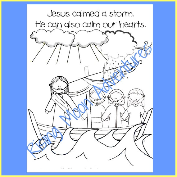 Jesus Calmed A Storm Coloring Page Download Etsy - Jesus-calm-the-storm-coloring-page