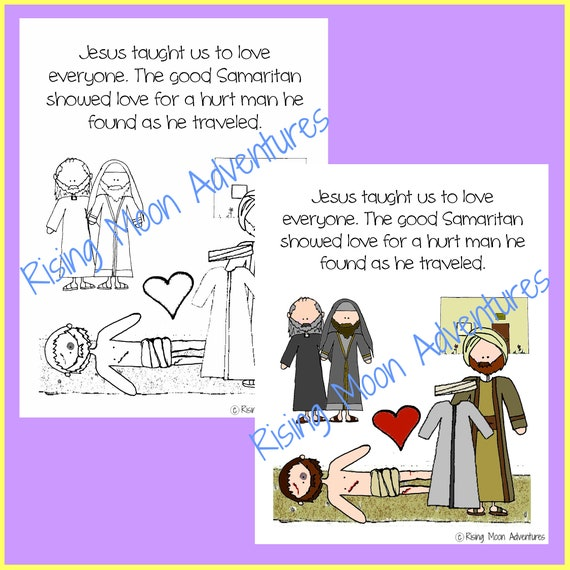The Good Samaritan Coloring Page and Colored Display Page Download