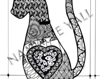 Digital Cat Adult Coloring Page Zentangle Zen Tangle Kitty