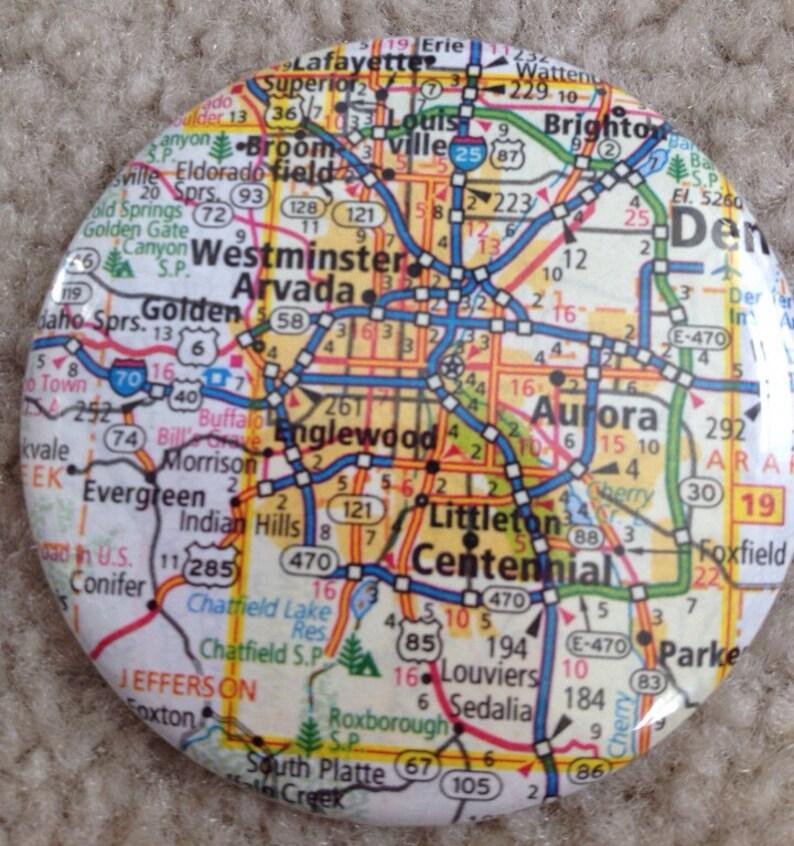 Island Girl Bags  Map of Denver Covered Pocket Mirror 2.25 image 0