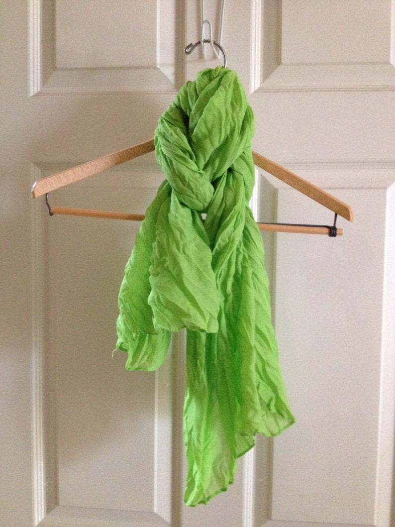 Lime green crinkly scarf sarong image 0