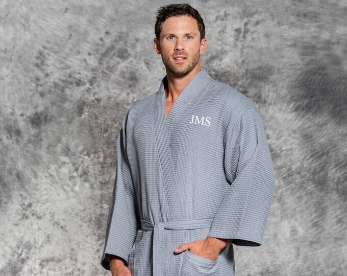 Men's Monogrammed Gray Waffle Robe, Personalized Bathrobes for Men, Custom Grey Robe for Guys, Groomsmen Gift, Valentine's Day Gift for Him