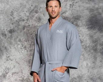 3231514468 Men s Monogrammed Gray Cotton Waffle Weave Robe