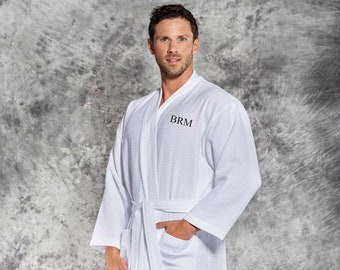 Men s Monogrammed White Cotton Waffle Weave Robe 91fe5e45b