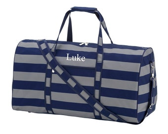 Personalized Boys Travel Duffel Bag in Navy and Gray Stripe, Kids  Monogrammed Overnight or Gym Sports Bag, Boys Custom Birthday Gift 4f1e073246